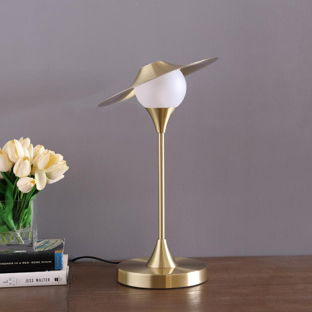 "16"" In Kelsey Led Brush Gold Exposed Shade Touch-On Table Lamp. Picture 3"