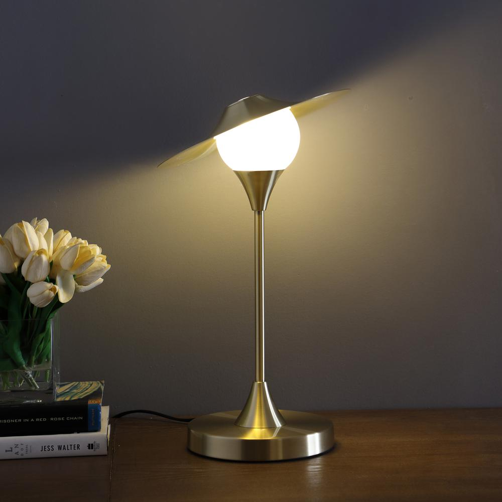 "16"" In Kelsey Led Brush Gold Exposed Shade Touch-On Table Lamp. Picture 4"