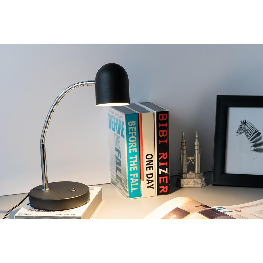 """12.5"""" In Matte Black Led Goose Neck Metal Bowl Table Lamp. Picture 2"""