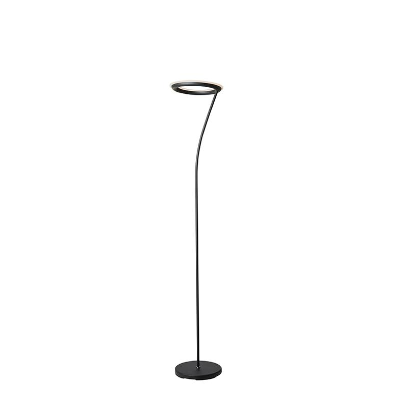 """73"""" In Matte Black Led Halo Torchiere Floor Lamp. Picture 4"""