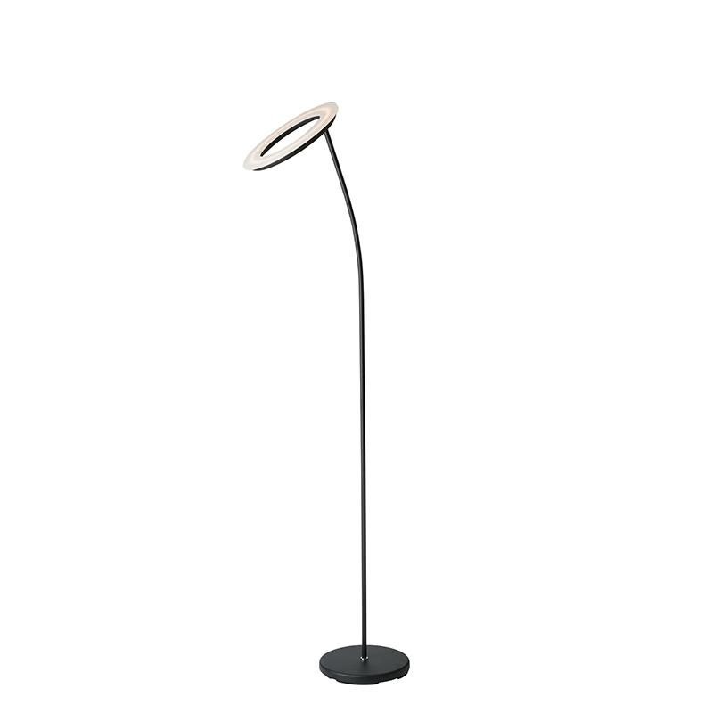 """73"""" In Matte Black Led Halo Torchiere Floor Lamp. Picture 1"""