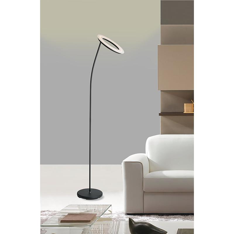 """73"""" In Matte Black Led Halo Torchiere Floor Lamp. Picture 2"""