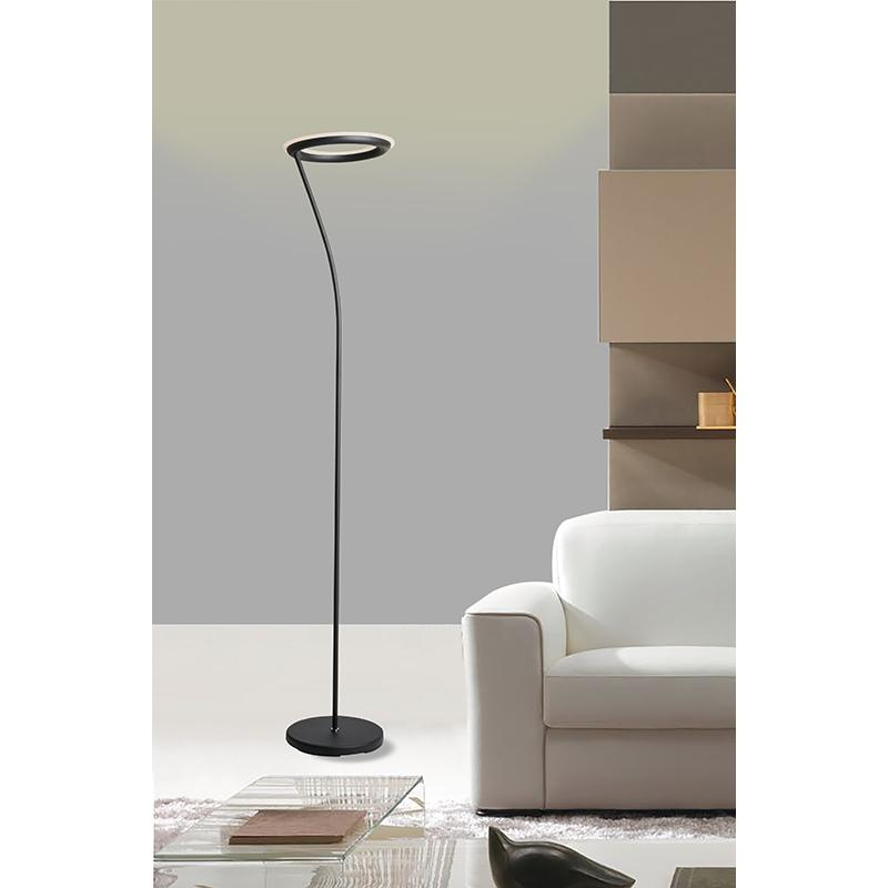 """73"""" In Matte Black Led Halo Torchiere Floor Lamp. Picture 3"""
