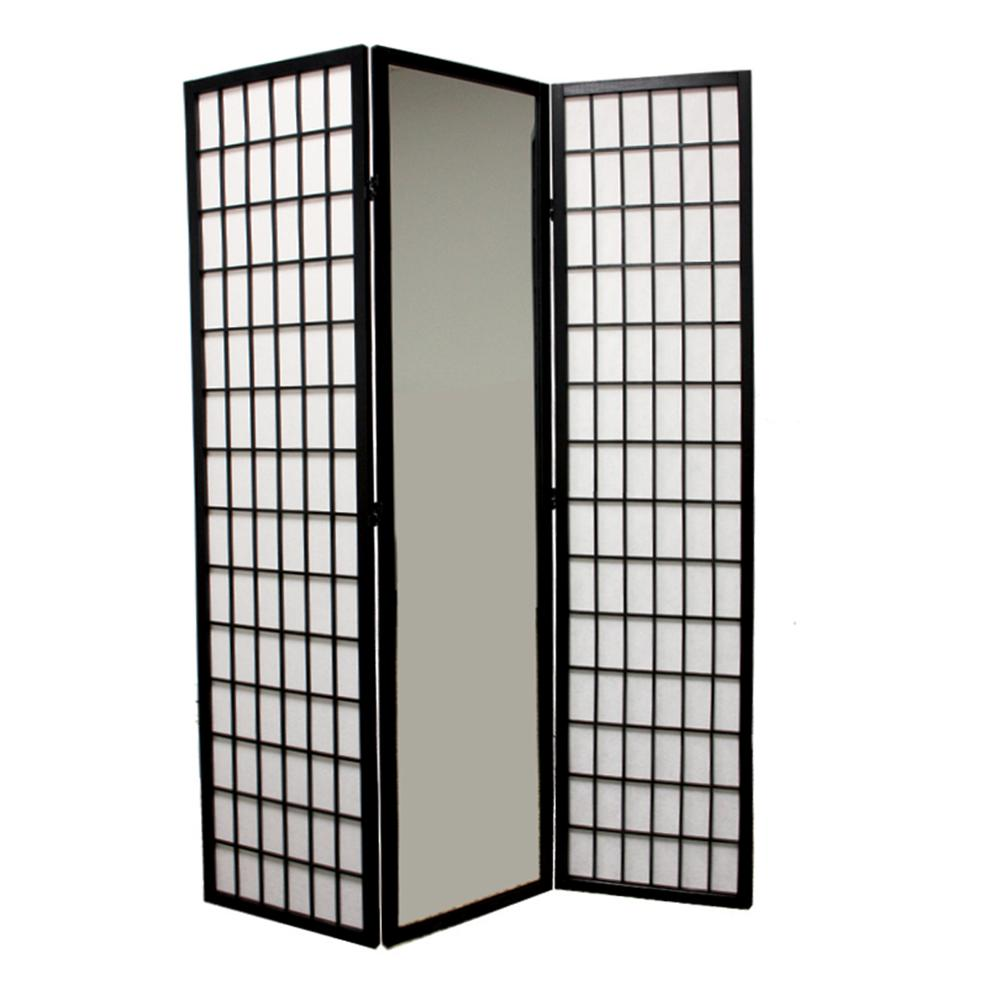 3-Panel Black Finish Mirror Room Divider. Picture 1