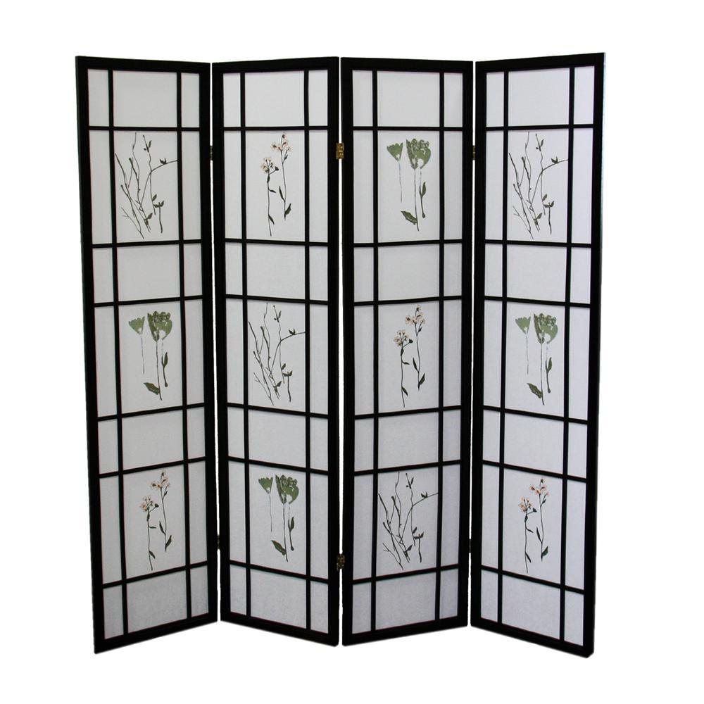 4 Panel Shoji Screen - Black. Picture 1
