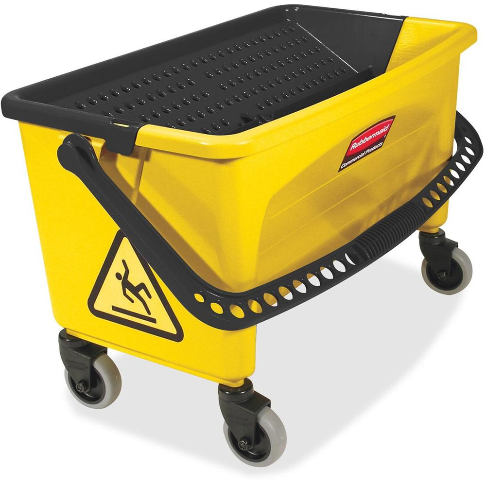 "Rubbermaid Commercial Microfiber Press Wring Bucket - Twist-valve, Non-porous - 16"" x 14"" - Yellow - 1 Each. Picture 1"