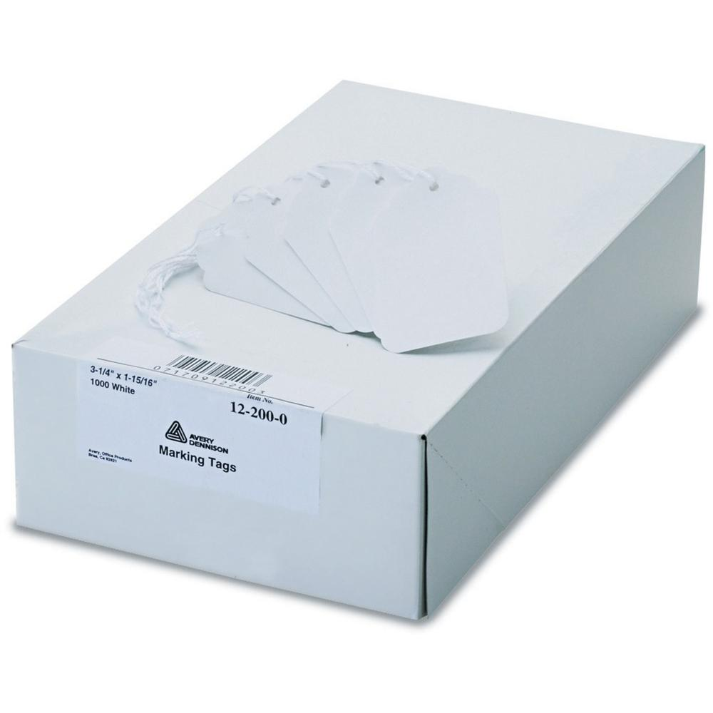 """Avery® White Marking Tags - 3.25"""" Length x 1.94"""" Width - Rectangular - Twine Fastener - 1000 / Box - Polyester, Cotton - White. Picture 1"""