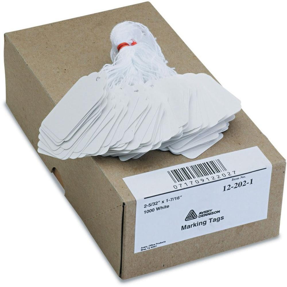 """Avery® Marking Tags - Strung - 2.16"""" Length x 1.44"""" Width - Rectangular - Twine Fastener - 1000 / Box - Cotton, Polyester, Card Stock - White. Picture 1"""