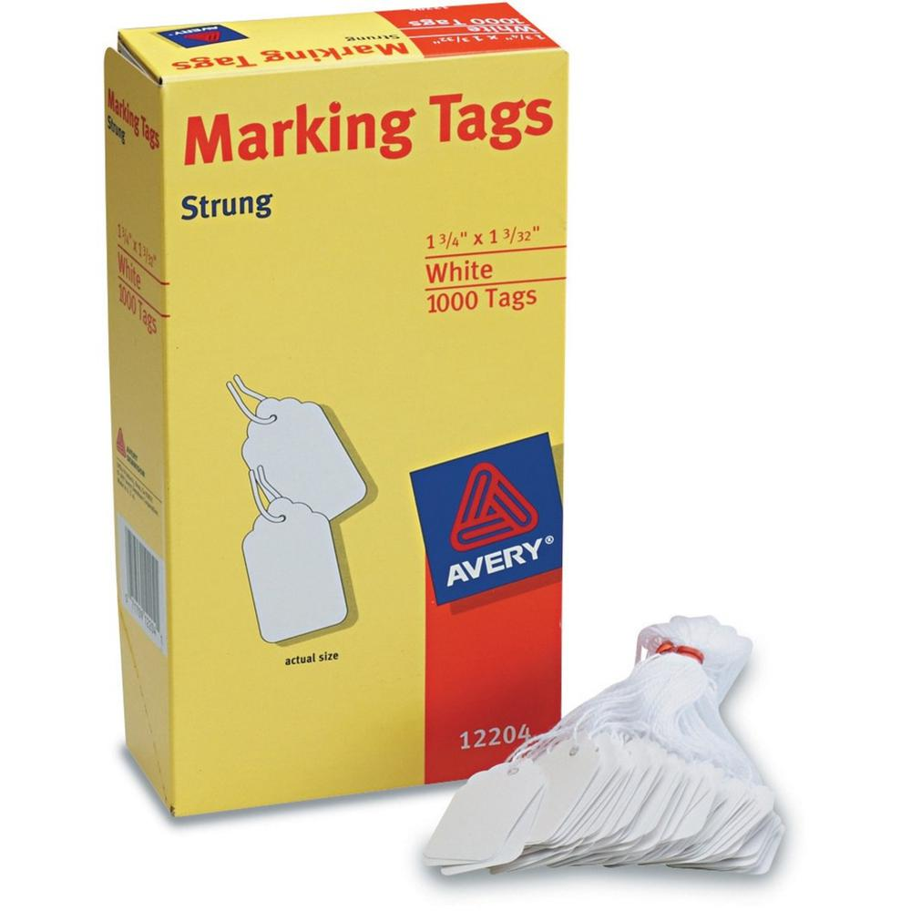 """Avery® White Marking Tags - 1.75"""" Length x 1.09"""" Width - Rectangular - Twine Fastener - 1000 / Box - Cotton, Polyester - White. Picture 1"""