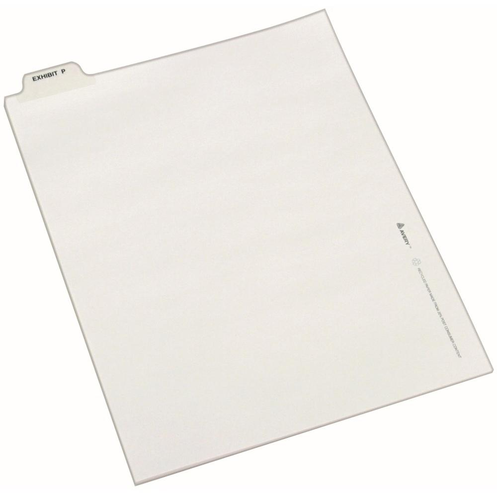 """Avery® Individual Bottom Tab Legal Dividers - 25 x Divider(s) - Bottom Tab(s) - Exhibit P - 1 Tab(s)/Set - Letter - 8 1/2"""" Width x 11"""" Length - White Paper Divider - 1. Picture 1"""