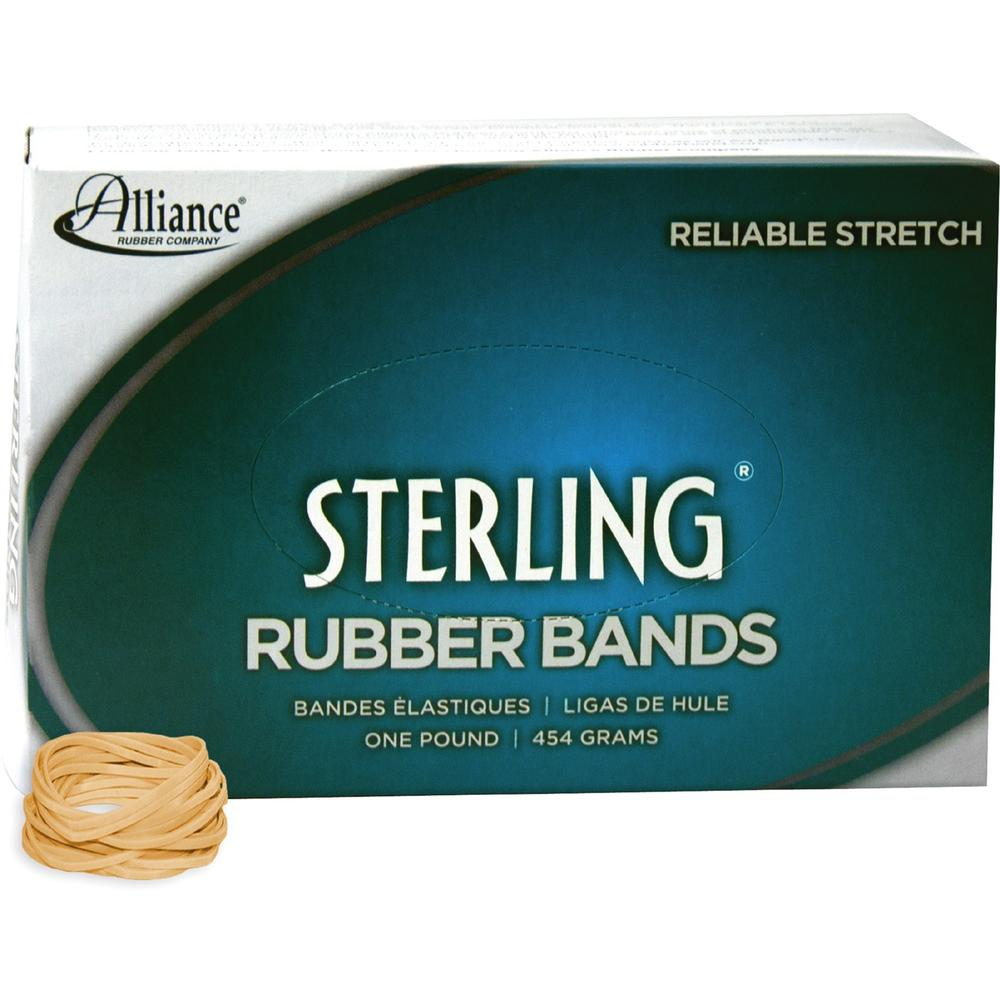 """Alliance Rubber 24125 Sterling Rubber Bands - Size #12 - Approx. 3400 Bands - 1 3/4"""" x 1/16"""" - Natural Crepe - 1 lb Box. Picture 1"""