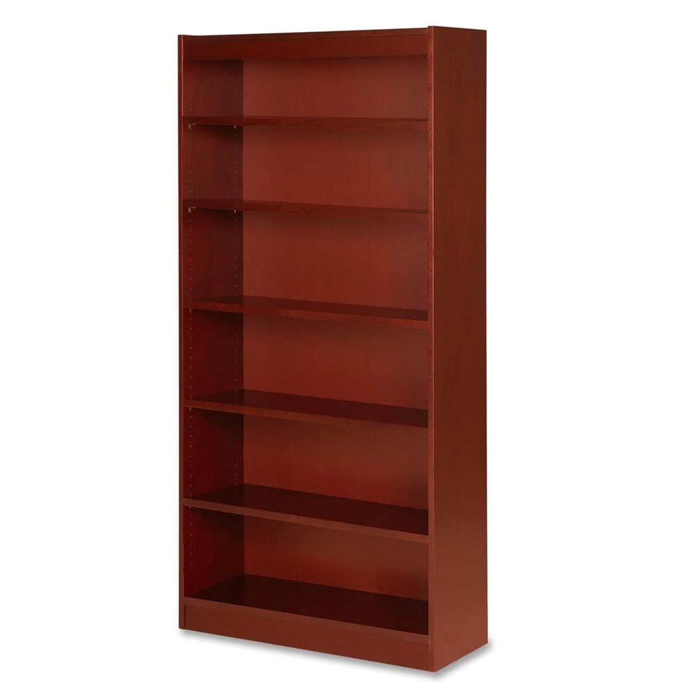 "Lorell Six Shelf Panel Bookcase - 36"" x 12"" x 72"" - 6 Shelve(s) - Material: Veneer, Wood ..."