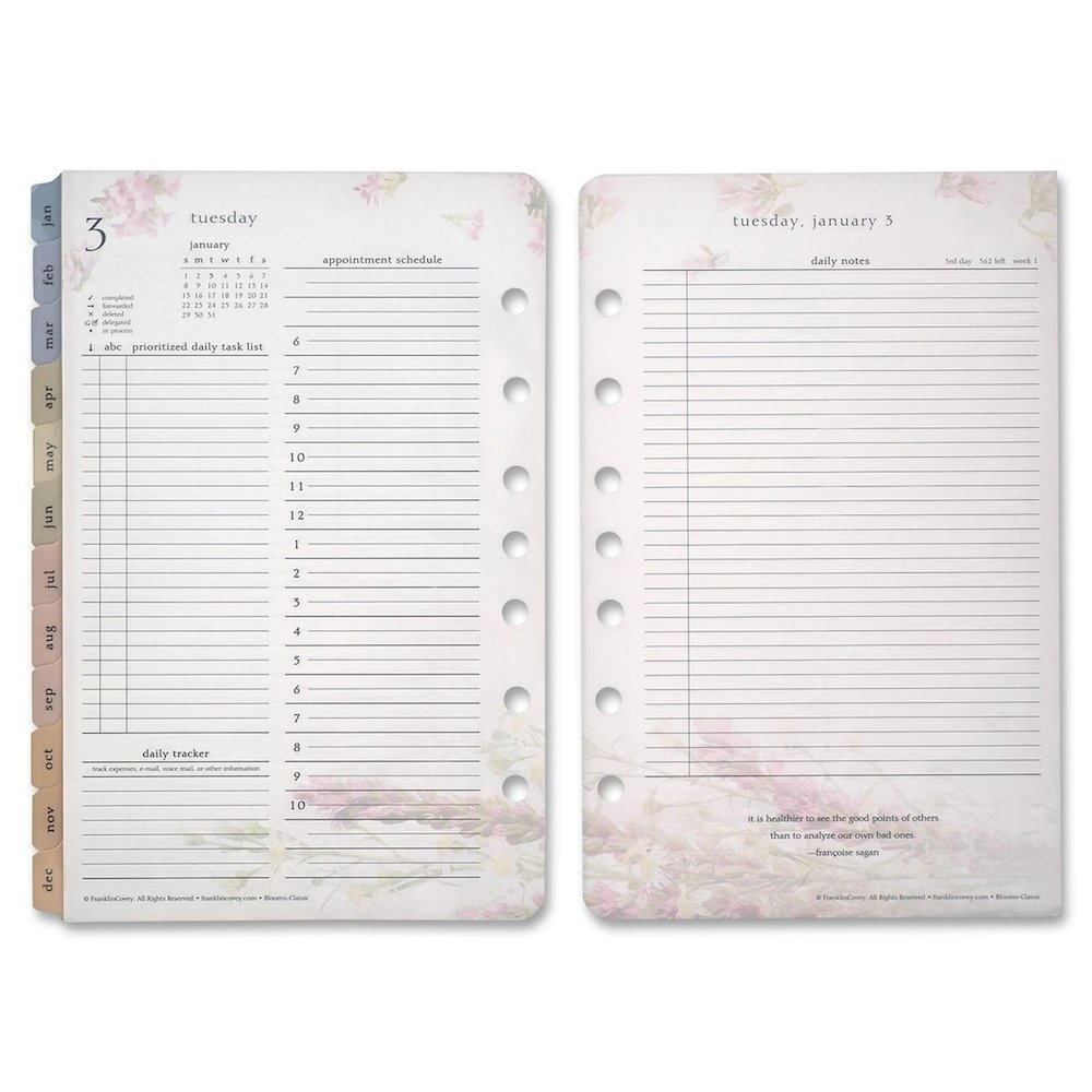 Refill for planners contains dated pages and calendars for planning daily events. Each refill includes a full year of 2-page-per-day planning pages that include Franklin-Covey's Prioritized Daily Task List and Appointment Schedules, two-page-per-month calendar tabs and pages for future planning.
