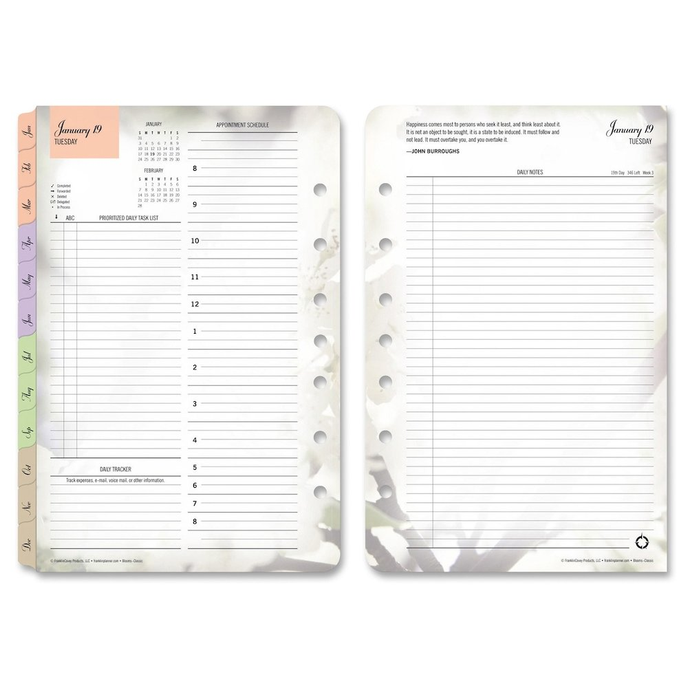 Franklin Covey Blooms Dated Daily Planner Refill, January-December, 5 1/2 x 8 1/2, 2019 (FDP3544)