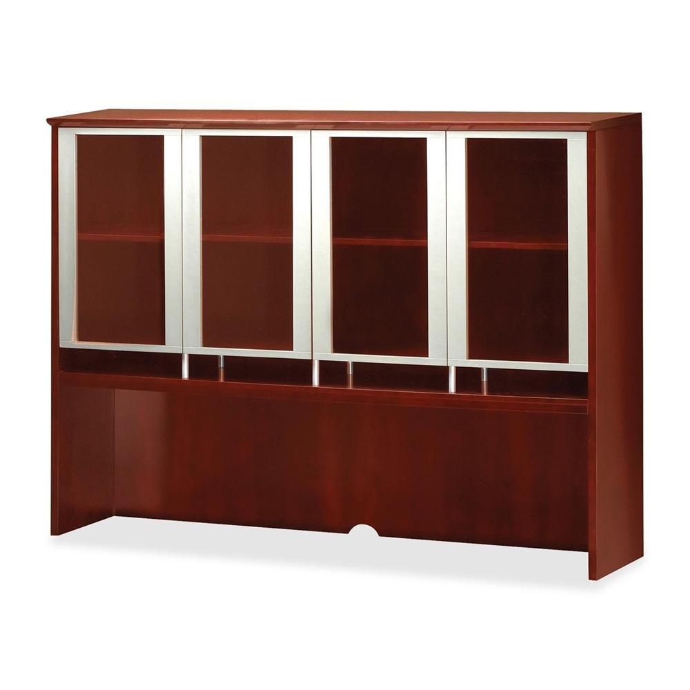 """Glass Door Hutch - 72"""" Width x 15"""" Depth x 50.5"""" Height - Veneer, Wood - Sierra Cherry. Picture 1"""