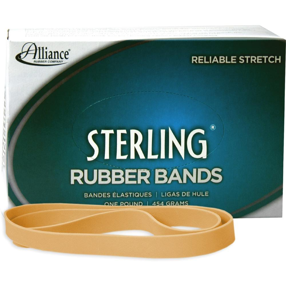 """Alliance Rubber 25075 Sterling Rubber Bands - Size #107 - Approx. 50 Bands - 7"""" x 5/8"""" - Natural Crepe - 1 lb Box. Picture 1"""