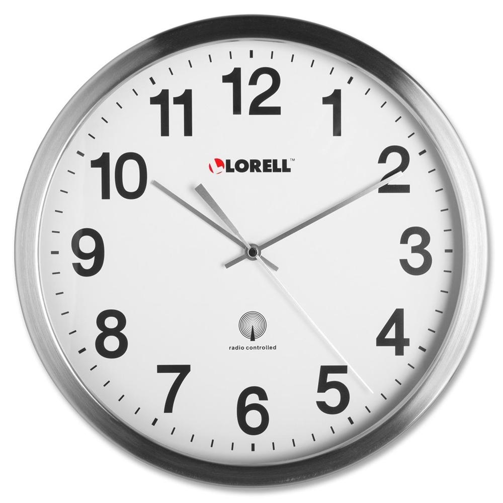 Lorell Brushed Nickel Plated Atomic Wall Clock Analog