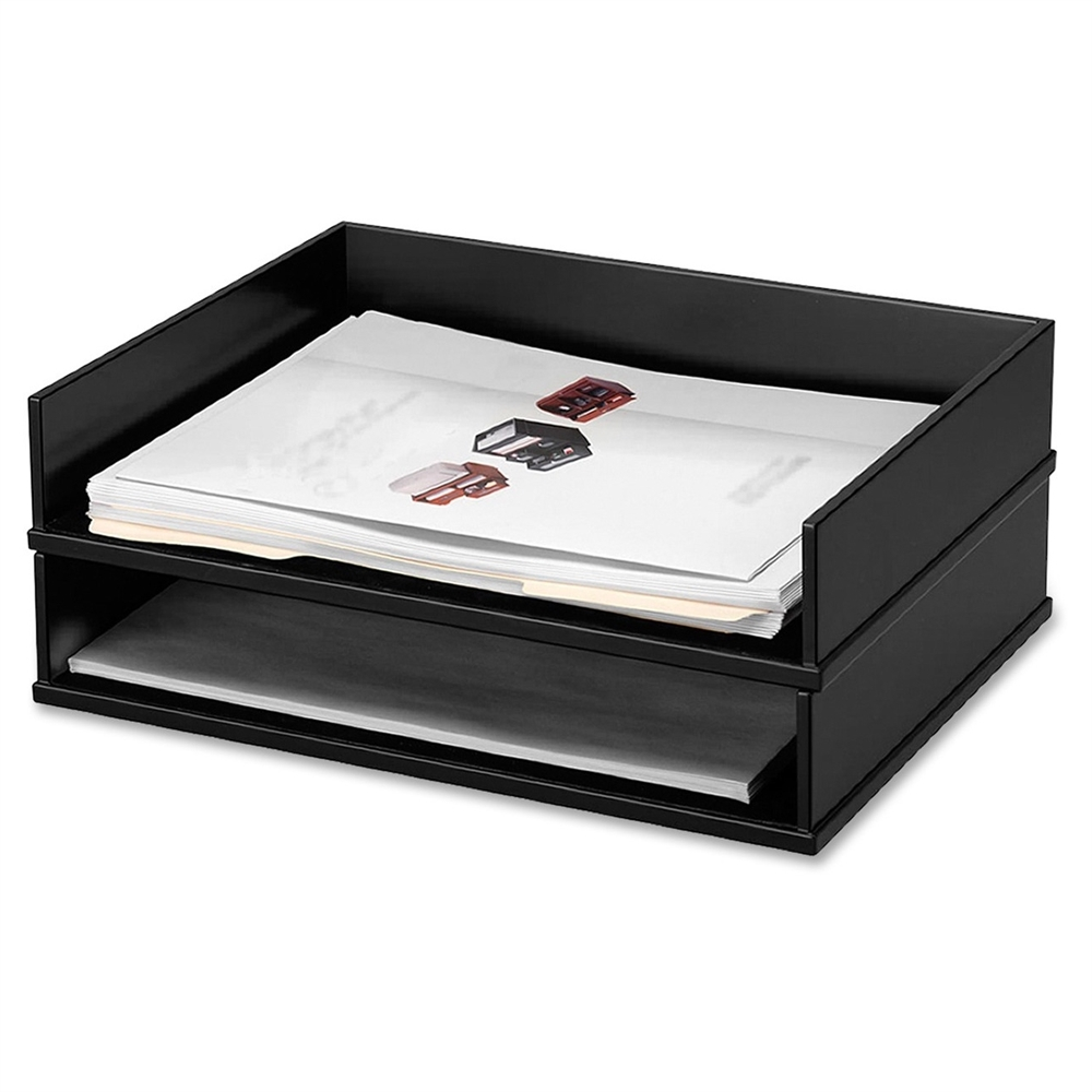 Victor 1154 5 midnight black stacking letter tray for Decorative stacking letter trays
