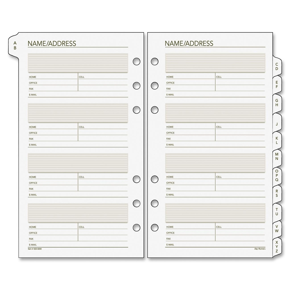 """Day Runner 3-34"""" A-Z Tab 6-hole Page Refills - 3.75"""" x 6 ..."""