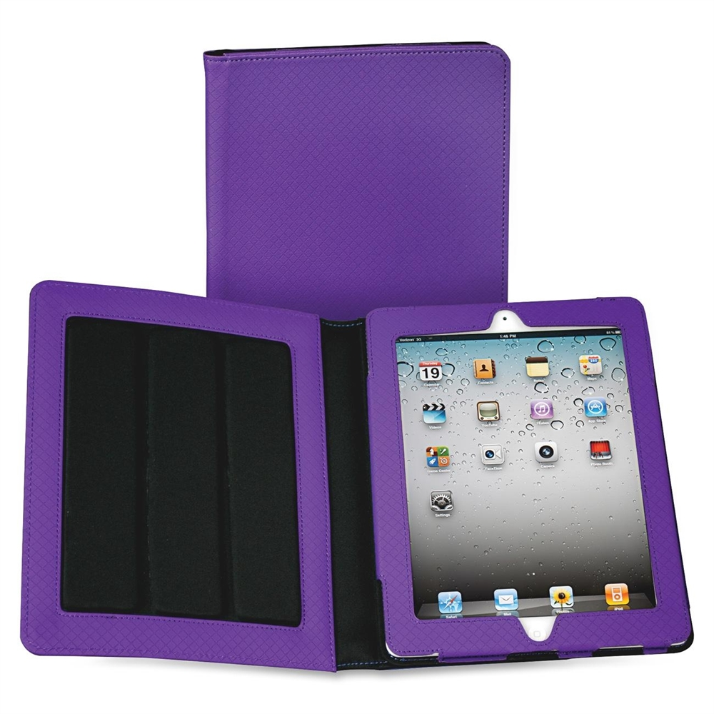 "Fashion Carrying Case (Folio) for iPad - Purple - Polyvinyl Chloride (PVC) - Purple Debossed Diamond, Textured - 10"" Height x 8"" Width x 1"" Depth. Picture 1"