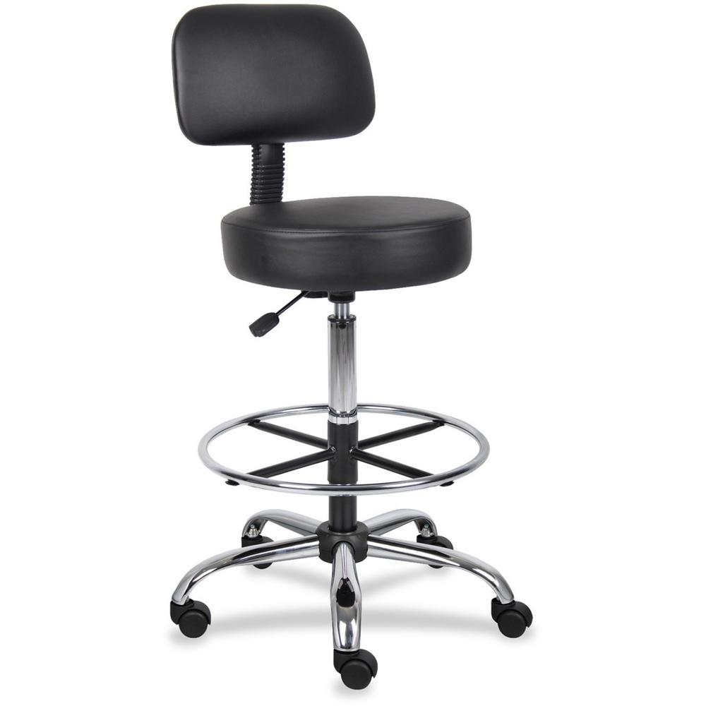 "Boss Drafting Stool - Black Vinyl Seat - Black Back - Chrome, Black Chrome Frame - 5-star Base - 16"" Seat Width x 16"" Seat Depth - 25"" Width x 25"" Depth x 47"" Height - 1 Each. Picture 1"