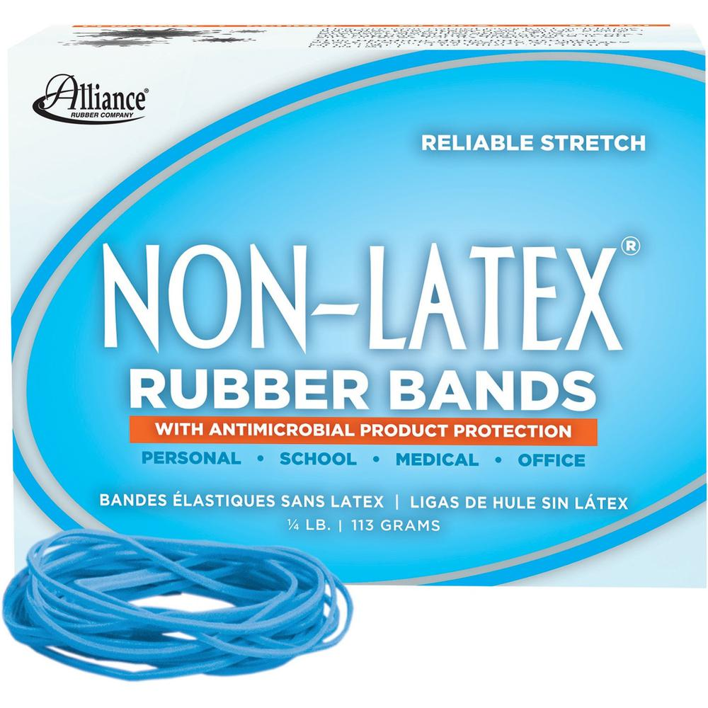 "Alliance Rubber 42199 Non-Latex Rubber Bands with Antimicrobial Protection - Size #19 - 1/4 lb. box contains approx. 360 bands - 3 1/2"" x 1/16"" - Cyan blue. Picture 1"