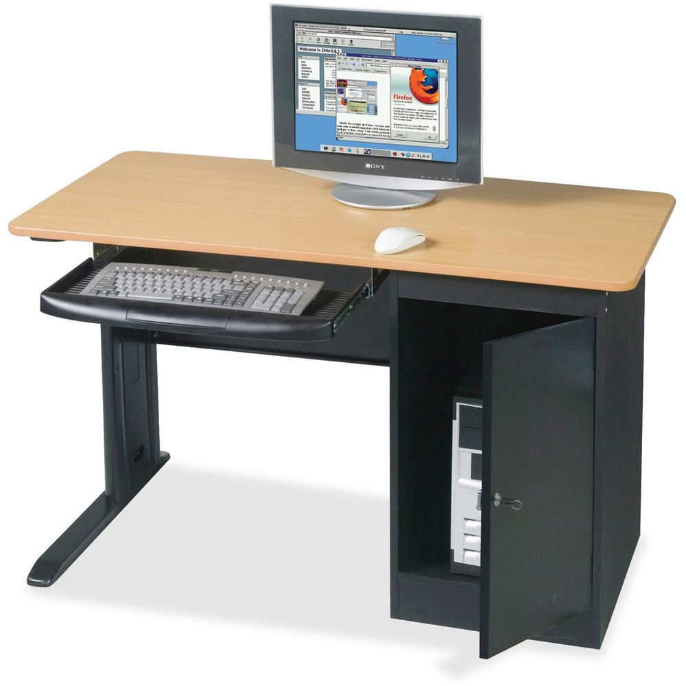 """MooreCo Locking Computer Workstation - Teak Top - Powder Coated Base - 1 Drawers - 0.75"""" Table Top Thickness - Assembly Required - Laminated. Picture 1"""