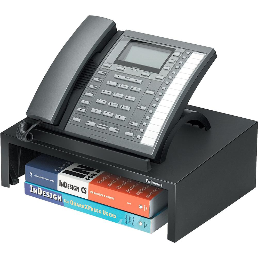 """Fellowes Designer Suites™ Phone Stand - 4.4"""" Height x 13"""" Width x 9.1"""" Depth - Pearl, Black. Picture 1"""