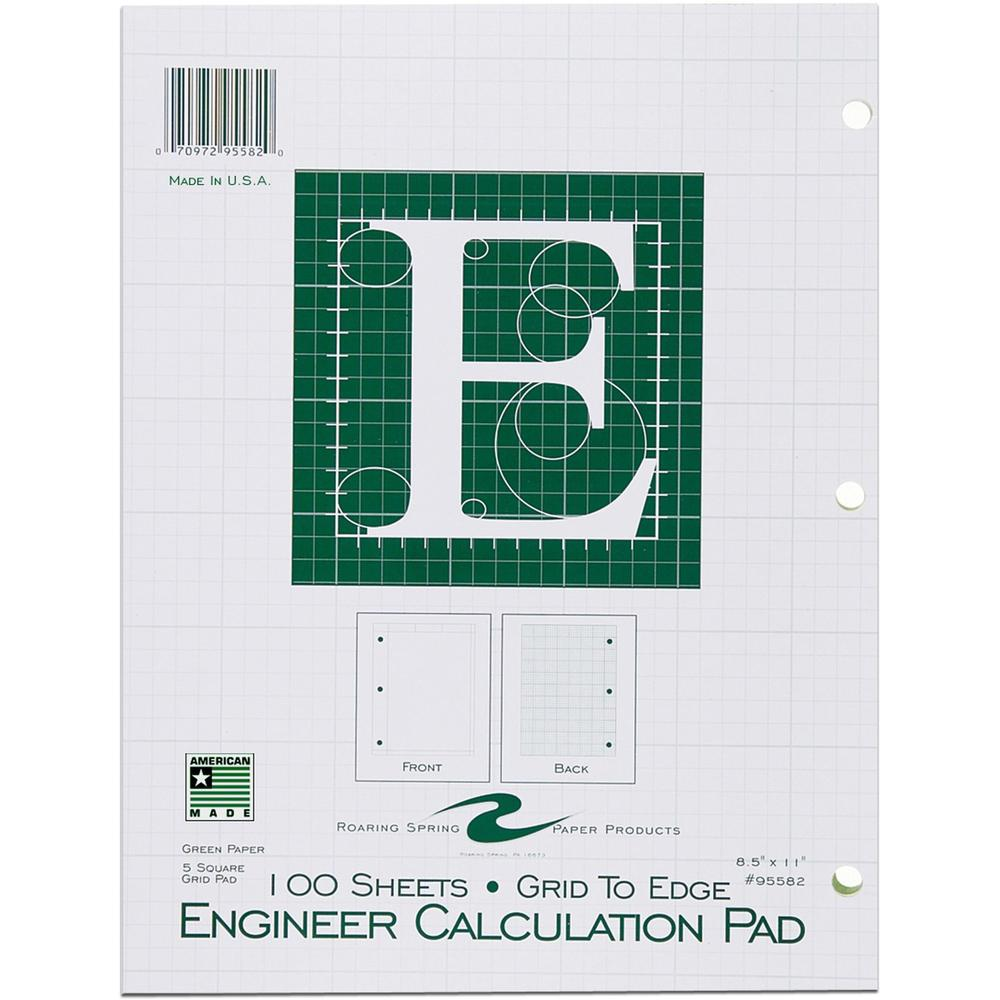 """Roaring Spring 5x5 Grid Engineering Pad, 15# Green, 3 Hole Punched, 8.5"""" x 11"""" 100 Sheets, Green Paper (Gride to Edge) - 100 Sheets - 200 Pages - Printed - Glued - Back Ruling Surface - 3 Hole(s) - 15. Picture 1"""