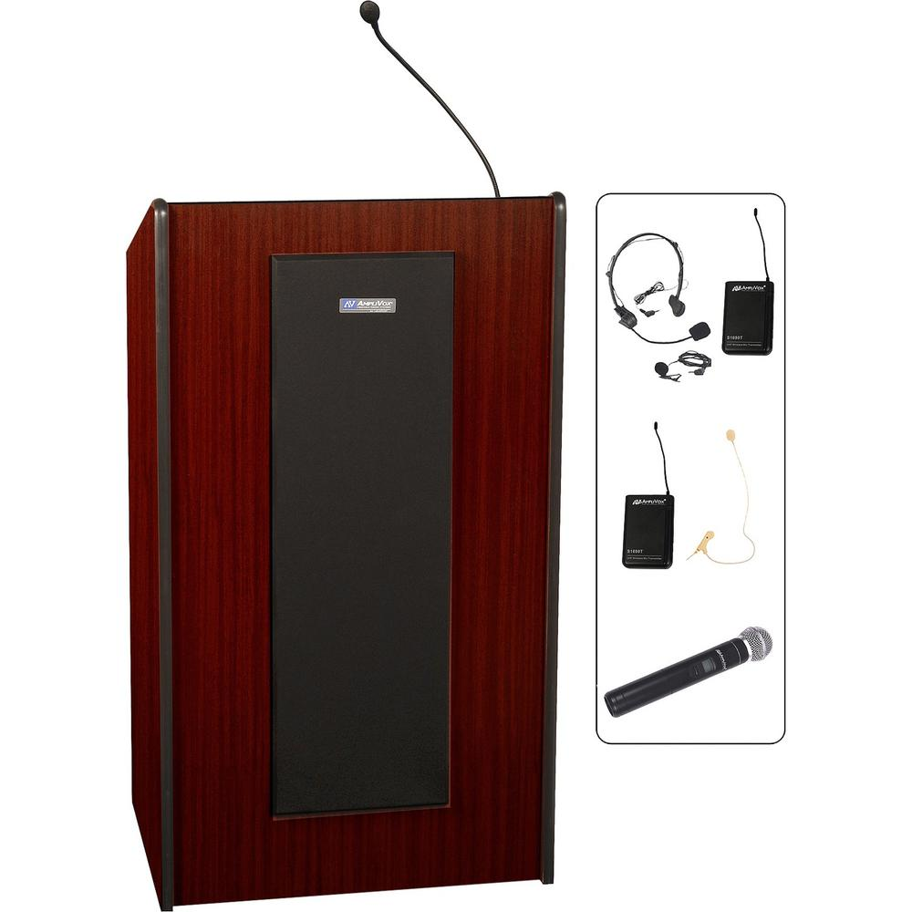 """AmpliVox SW450 - Wireless Presidential Plus Lectern - 46.50"""" Height x 25.50"""" Width x 20.50"""" Depth - Assembly Required - Mahogany. Picture 1"""