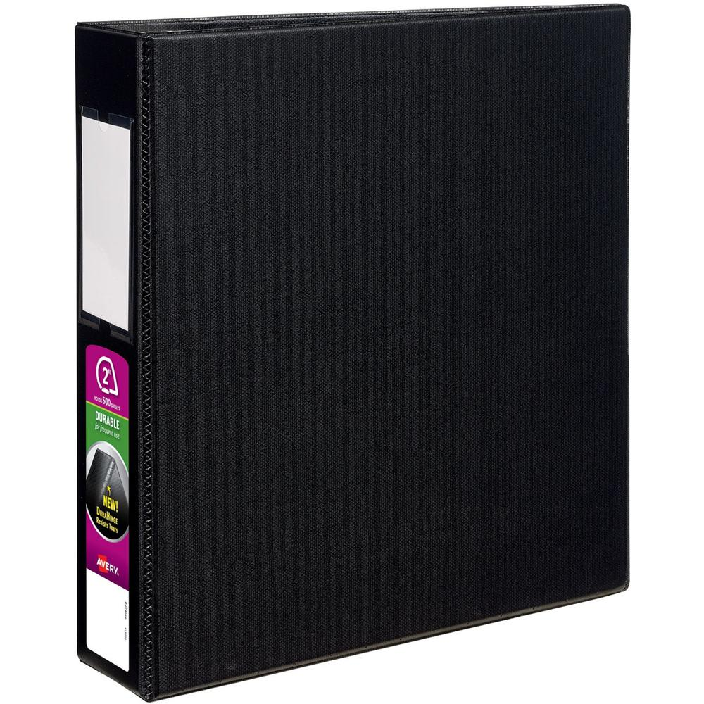 "Avery® Durable 3 Ring Binder, 2"" Slant Rings, 1 Black Binder (27556) - 2"" Binder Capacity - Letter - 8 1/2"" x 11"" Sheet Size - 530 Sheet Capacity - 3 x Slant Ring Fastener(s) - 2 Pocket(s) - Polyp. Picture 1"