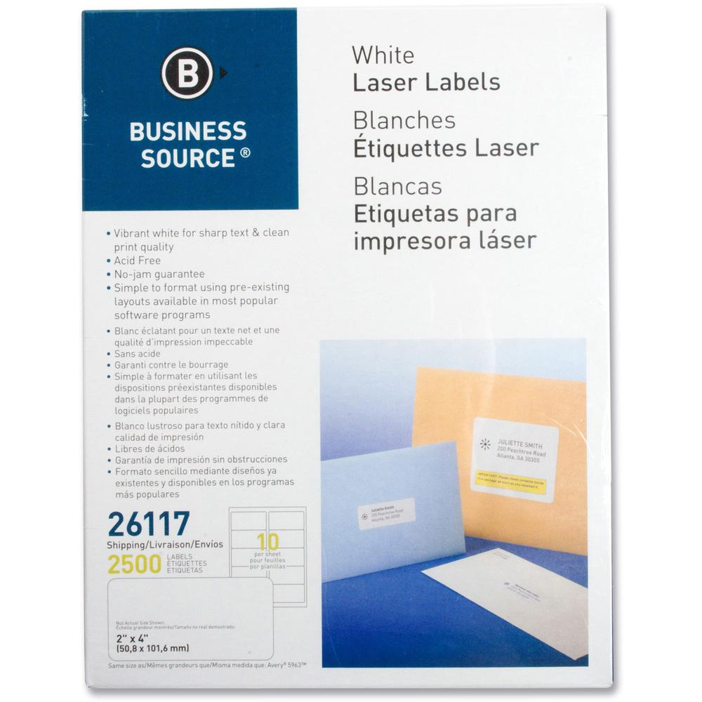 """Business Source Bright White Premium-quality Shipping Labels - Permanent Adhesive - 2"""" x 4"""" Length - Rectangle - Laser, Inkjet - White - 10 / Sheet - 250 Total Sheets - 2500 / Pack. Picture 1"""