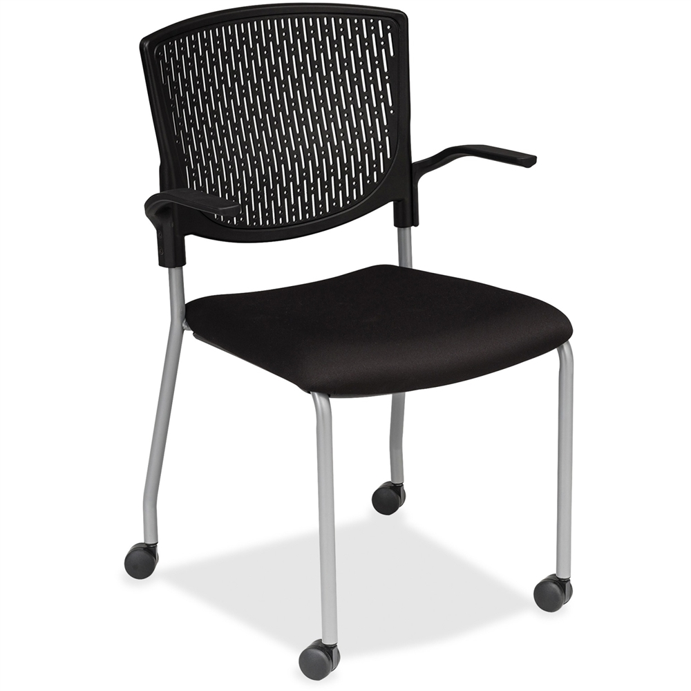 Plastic Back Guest Chair Fabric Black Seat Plastic