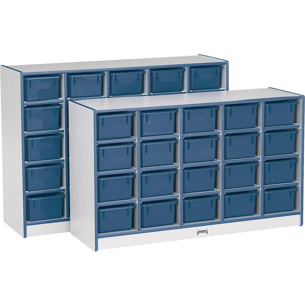 """Jonti-Craft Rainbow Accents Cubbie Mobile Storage - 25 Compartment(s) - 35.5"""" Height x 60"""" Width x 15"""" Depth - Navy, Navy Blue - Hard Rubber - 1Each. Picture 1"""