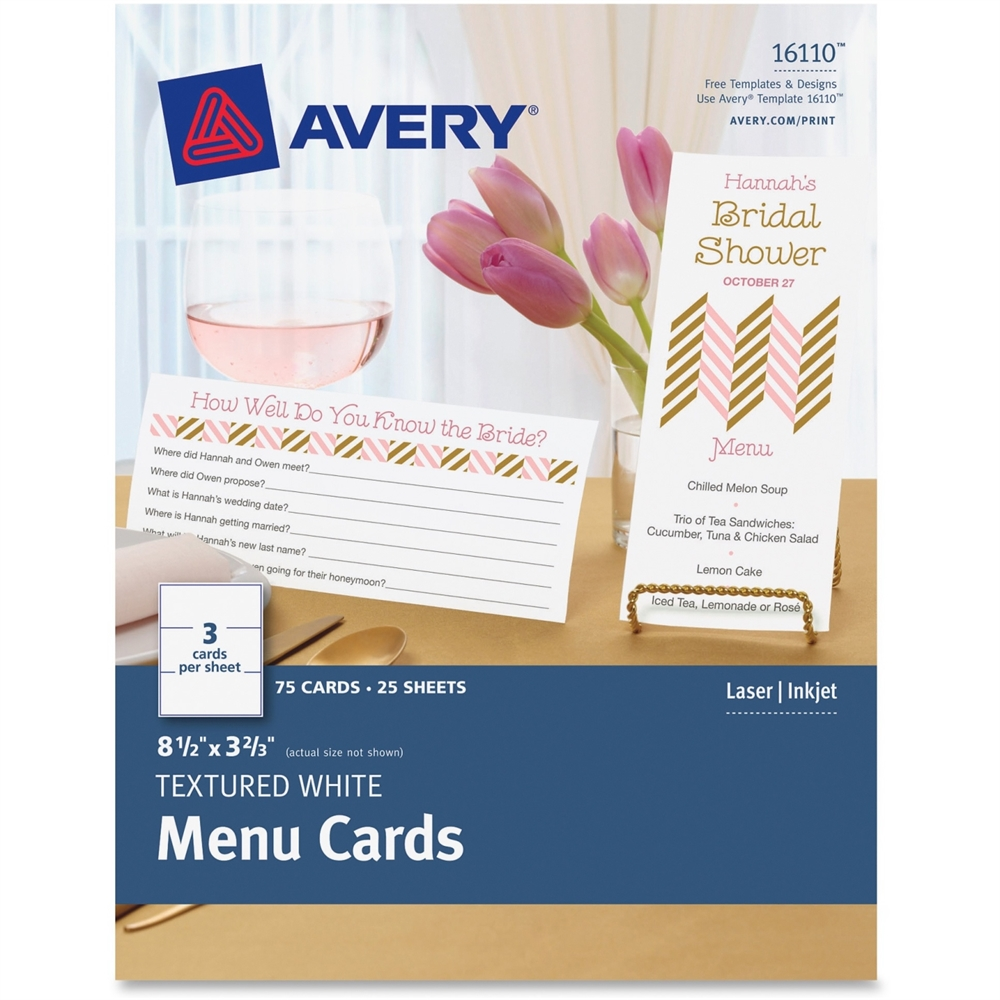 Avery note card 850quot x 366quot textured 75 pack white for Avery note cards