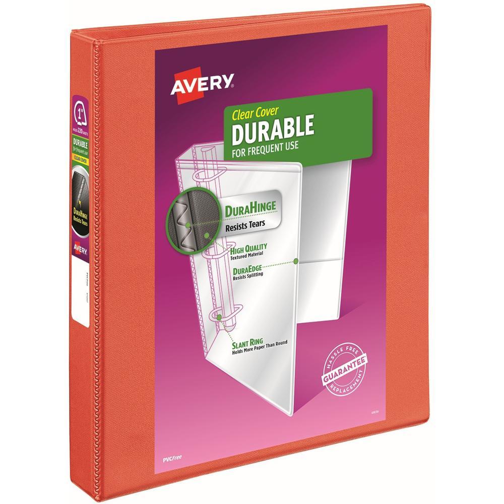 "Avery® Durable View 3 Ring Binder, 1"" Slant Rings, 1 Orange Binder - 1"" Binder Capacity - Letter - 8 1/2"" x 11"" Sheet Size - 250 Sheet Capacity - 3 x Slant Ring Fastener(s) - 2 Pocket(s) - Polypro. Picture 1"