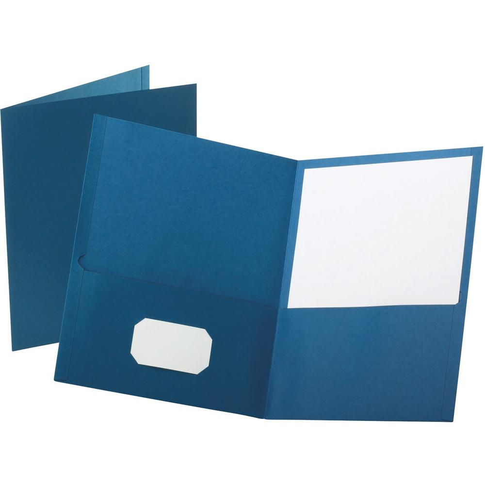 """Oxford Letter Recycled Pocket Folder - 8 1/2"""" x 11"""" - 100 Sheet Capacity - 2 Internal Pocket(s) - Leatherette Paper - Blue - 10% - 25 / Box. Picture 1"""