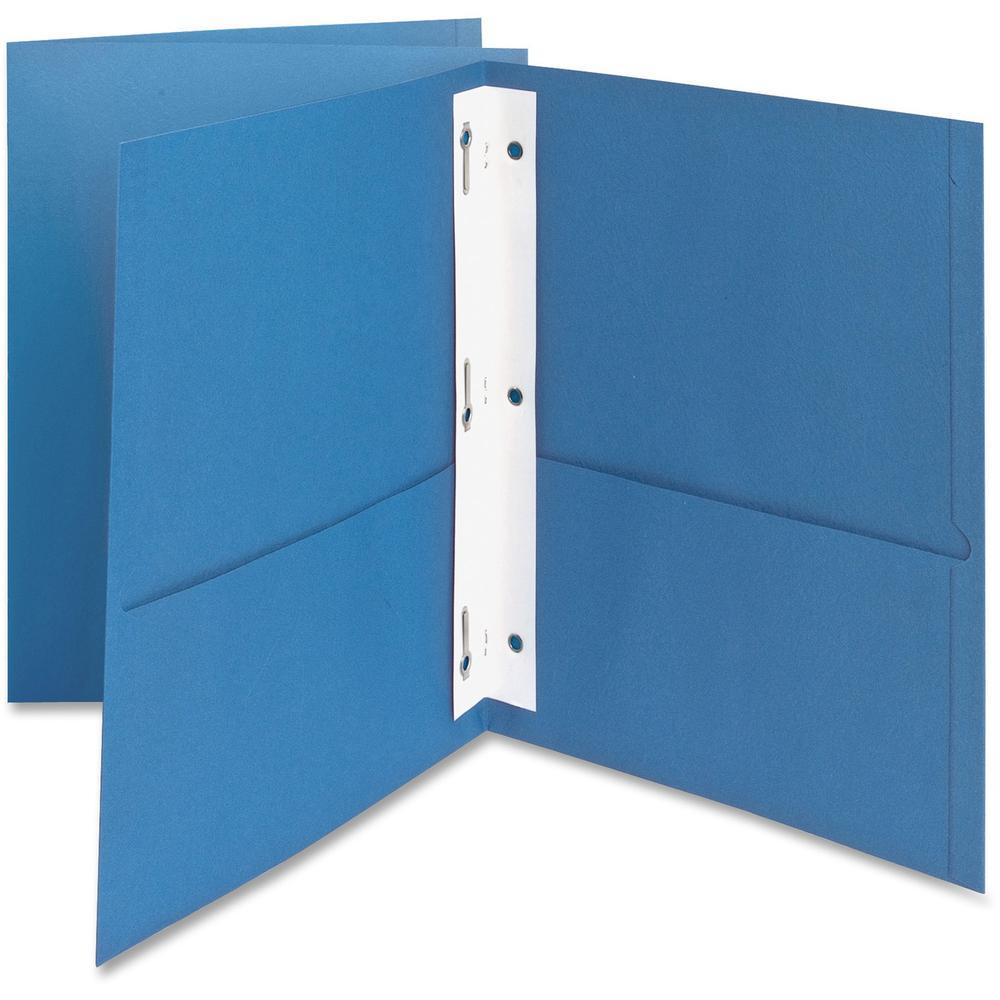 """Oxford Letter Recycled Pocket Folder - 8 1/2"""" x 11"""" - 85 Sheet Capacity - 3 Fastener(s) - 1/2"""" Fastener Capacity for Folder - 2 Inside Front & Back Pocket(s) - Leatherette Paper - Light Blue - 10% - 2. Picture 1"""