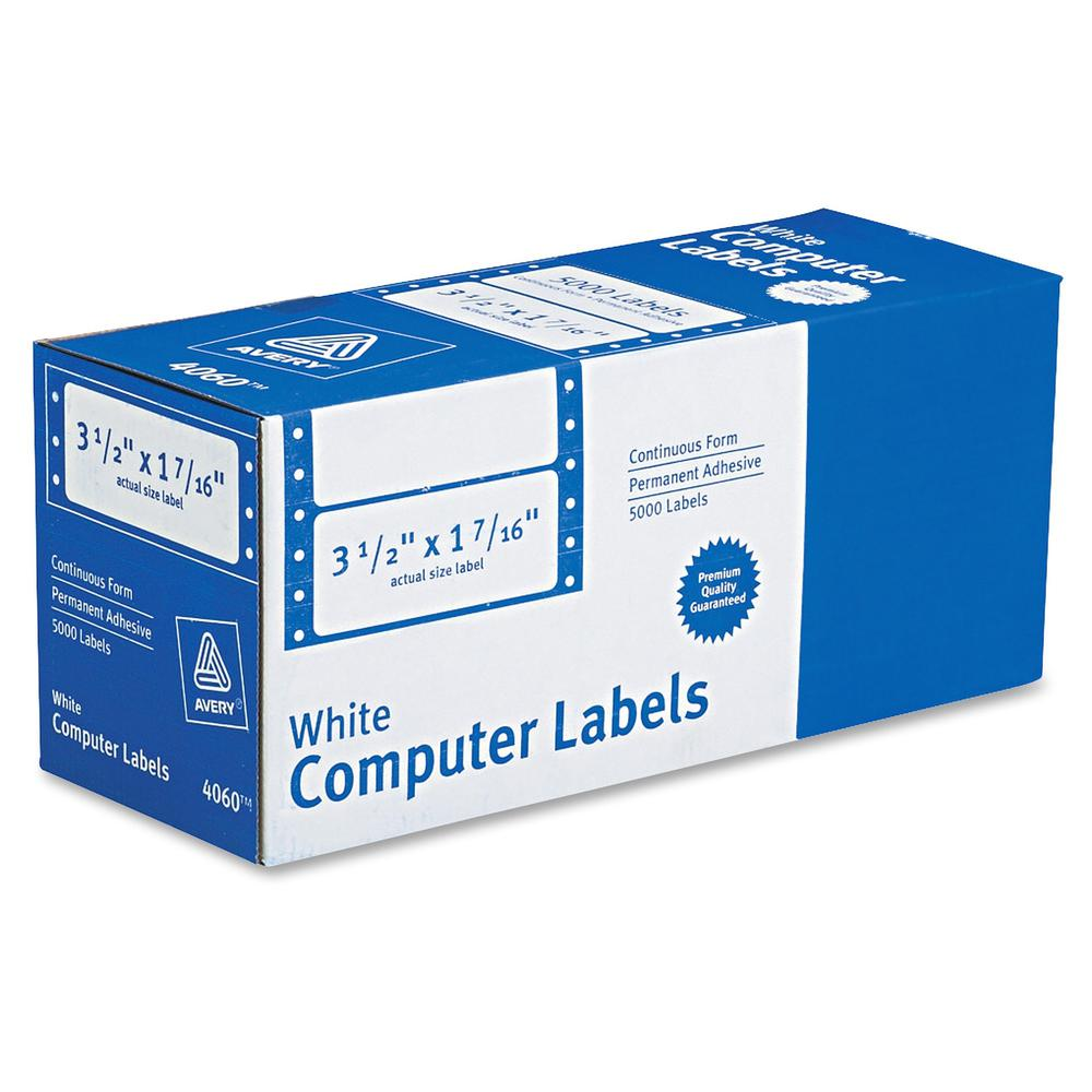"""Avery&reg Mailing Labels for Pin Fed Printers - Permanent Adhesive - 3 1/2"""" Width x 1 7/16"""" Length, 4 1/4"""" Length - Rectangle - Dot Matrix - White - 5000 / Box. Picture 1"""