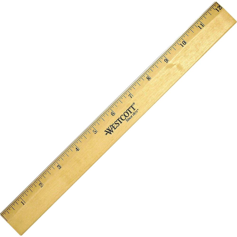 """Westcott Beveled Metal Edge Wood Rulers - 12"""" Length 1"""" Width - 1/16 Graduations - Imperial Measuring System - Wood - 1 Each. Picture 1"""