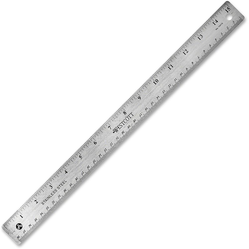 "Westcott Stainless Steel Rulers - 15"" Length 1"" Width - 1/16, 1/32 Graduations - Metric, Imperial Measuring System - Stainless Steel - 1 Each - Stainless Steel. Picture 1"
