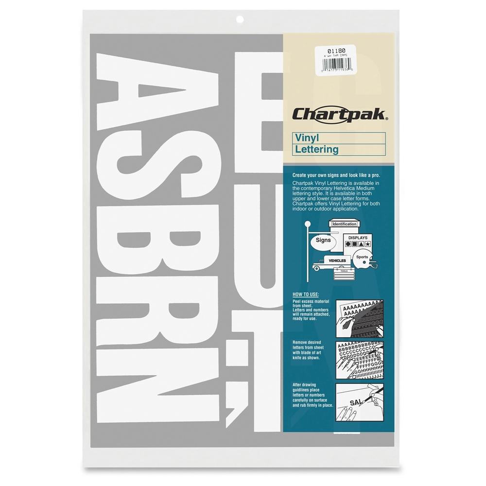 Chartpak 3quot vinyl capital letters 58 capital letters for 1 4 inch white vinyl letters