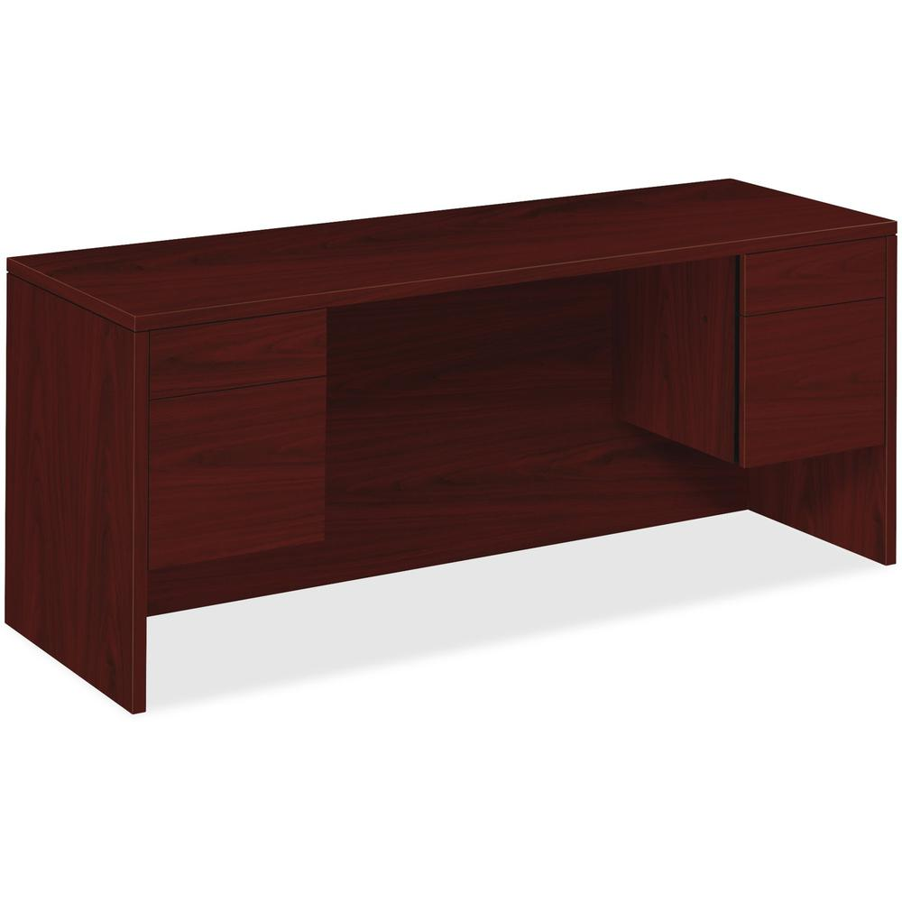 """HON 10500 Series Credenza with Kneespace - 4-Drawer - 72"""" x 24"""" x 29.5"""" - 4 x Box Drawer(s), File Drawer(s) - Double Pedestal - Square Edge - Material: Wood - Finish: Laminate, Mahogany. Picture 1"""