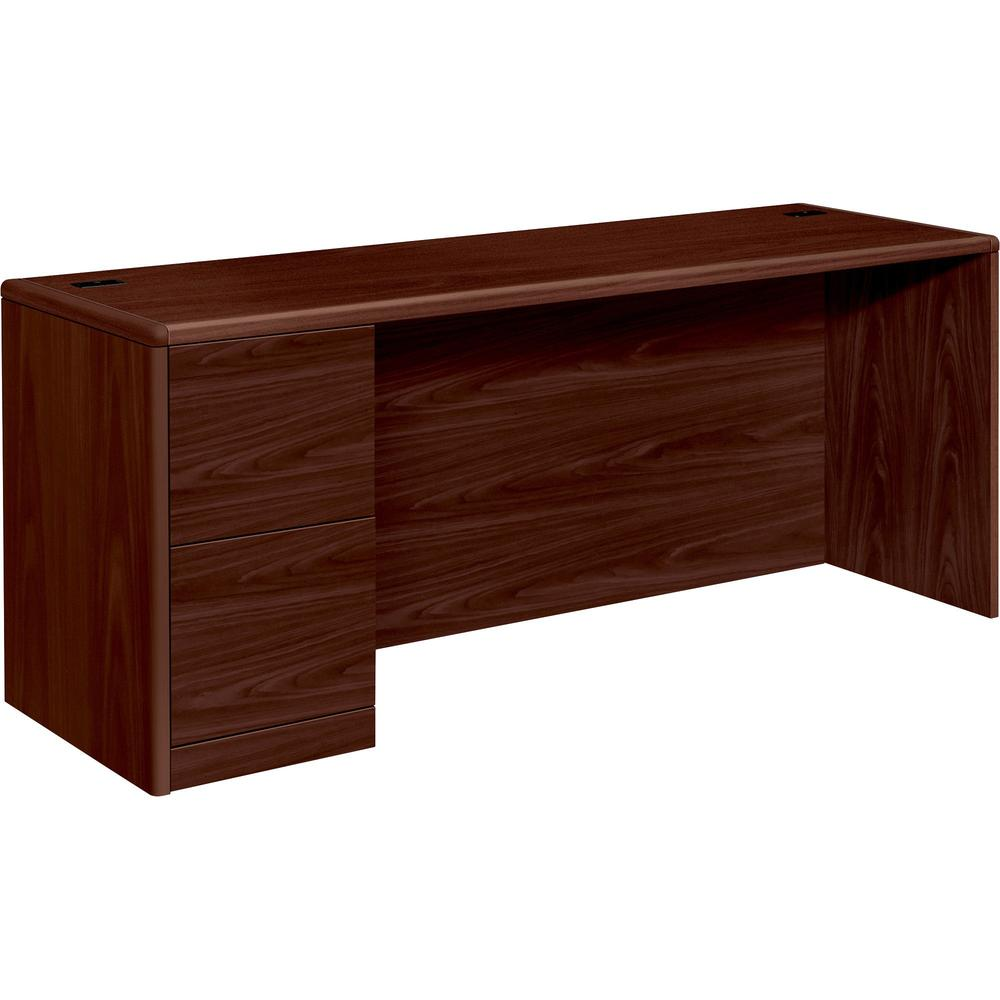 "HON 10700 Series Left-Pedestal Credenza - 72"" x 24"" x 29.5"" - 2 x File Drawer(s) - Single Pedestal on Left Side - Waterfall Edge - Material: Wood - Finish: Laminate, Mahogany. Picture 1"