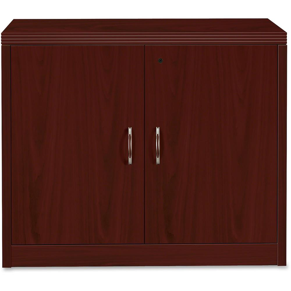 """HON Valido Storage Cabinet, 36""""W - 2-Drawer - 36"""" x 20"""" x 29.5"""" x 1.5"""" - 2 x File Drawer(s) - 2 Door(s) - 1 Shelve(s) - Ribbon Edge - Material: Particleboard - Finish: Laminate, Mahogany. Picture 1"""