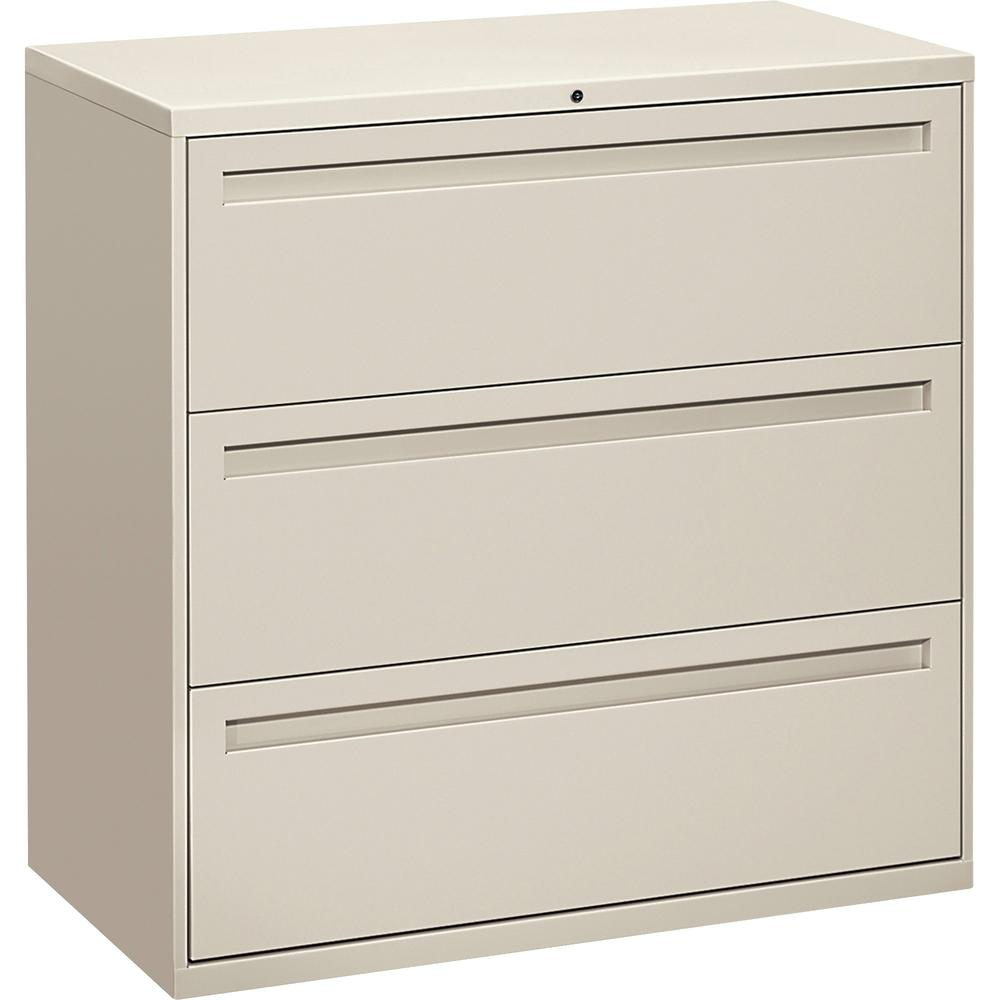 "HON Brigade 700 Series 3-Drawer Lateral - 42"" x 18"" x 39.1"" - 3 x Drawer(s) for File - A4, Legal, Letter - Lateral - Interlocking, Label Holder, Leveling Glide, Ball-bearing Suspension - Light Gray - . Picture 1"