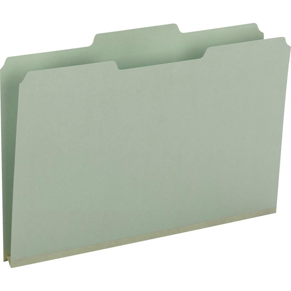 """Smead 1/3 Tab Cut Legal Recycled Top Tab File Folder - 8 1/2"""" x 14"""" - 1"""" Expansion - Top Tab Location - Assorted Position Tab Position - Pressboard - Gray, Green - 60% - 25 / Box. Picture 1"""
