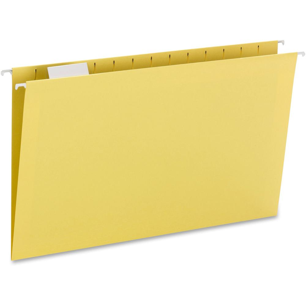 """Smead Colored 1/5 Tab Cut Legal Recycled Hanging Folder - 8 1/2"""" x 14"""" - Top Tab Location - Assorted Position Tab Position - Yellow - 10% - 25 / Box. Picture 1"""