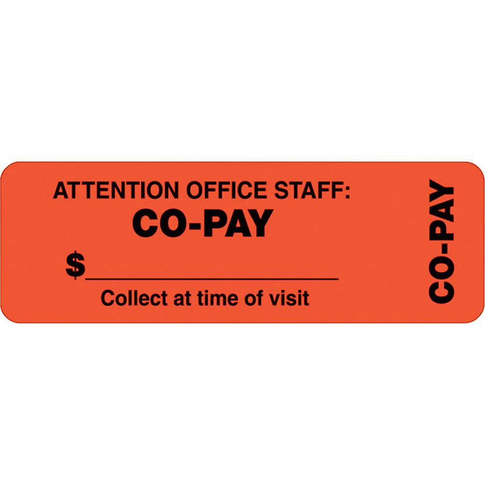 """Tabbies CO-PAY Wrap Labels - """"Collect at Time of Visit"""" , """"Attention Office Staff: Co-Pay"""" - 3"""" x 1"""" Length - Rectangle - Fluorescent Red Orange - 500 / Roll - 500 / Roll. Picture 1"""