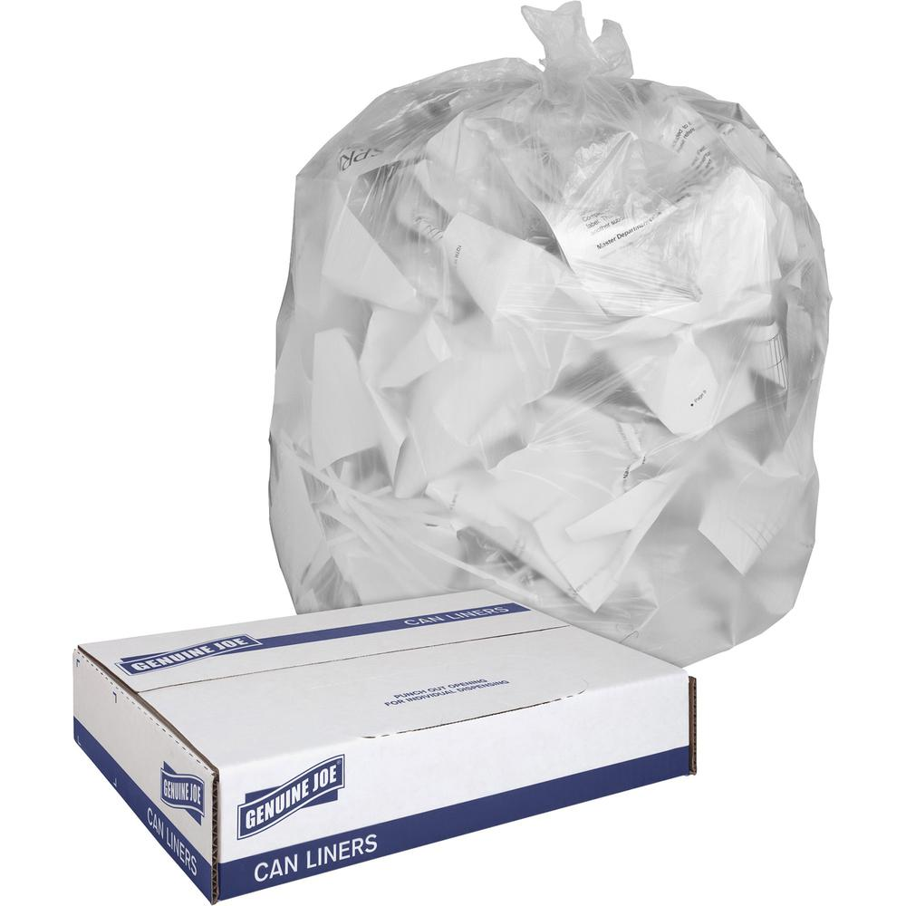 """Genuine Joe Clear Trash Can Liners - Medium Size - 30 gal - 30"""" Width x 36"""" Length x 0.60 mil (15 Micron) Thickness - Low Density - Clear - 250/Carton. Picture 1"""